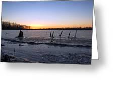 Icy Lake Sunset Greeting Card