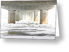 Icy Mississippi Bridge Greeting Card