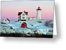 Icy Nubble Lighthouse Greeting Card