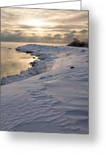 Icy Patterns On The Snow - A Lake Shore Morning Greeting Card
