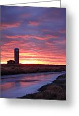 Icy River Sunset Greeting Card