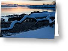 Icy Snowy Winter Sunrise On The Lake Greeting Card
