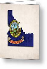 Idaho Map Art With Flag Design Greeting Card