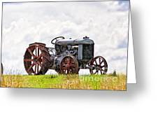 Idle Fordson Tractor On The Hill Greeting Card