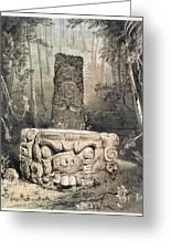 Idol And Altar At Copan Greeting Card