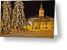 Idylic Winter Cityscape Evening In Snow Greeting Card