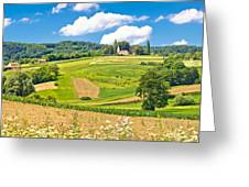 Idyllic Agricultural Landscape Panoramic View Greeting Card