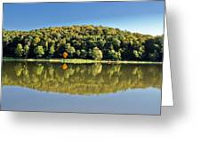 Idyllic Autumn Reflections On Lake Surface Greeting Card