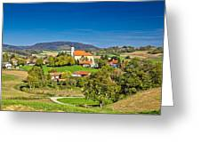 Idyllic Green Nature Of Croatian Village Of Glogovnica Greeting Card
