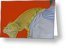 Iguana By The Tail Greeting Card
