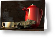 Iguana Coffee Greeting Card