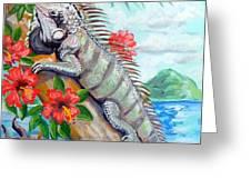Iguana Hibiscis Greeting Card