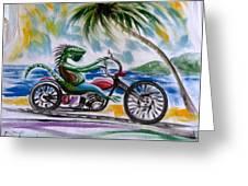 Iguana Rider Greeting Card