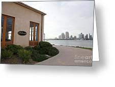 Il Fornaio Italian Restaurant In Coronado California Overlooking The San Diego Skyline 5d24364 Greeting Card
