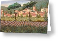 Il Villaggio Tra I Campi Di Lavanda Greeting Card