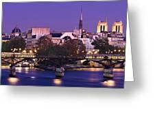 Ile De La Cite And Pont Des Arts / Paris Greeting Card by Barry O Carroll