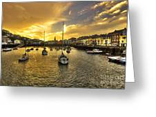 Ilfracombe Harbour At Dusk  Greeting Card