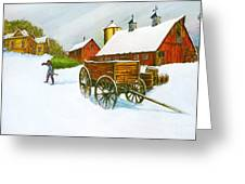Illinois Farm With Barn In Winter Greeting Card