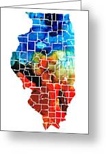 Illinois - Map Counties By Sharon Cummings Greeting Card