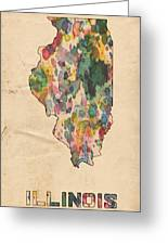 Illinois Map Vintage Watercolor Greeting Card