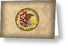 Illinois State Flag Art On Worn Canvas Greeting Card