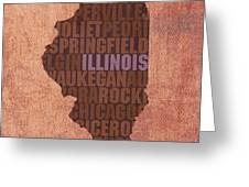 Illinois State Word Art On Canvas Greeting Card