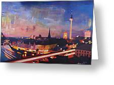 Illuminated Berlin Skyline At Dusk  Greeting Card