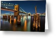 Illuminated Brooklyn Bridge By Night Greeting Card