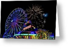 Illuminated Ferris Wheel With Neon Greeting Card