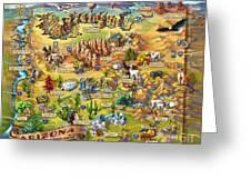 Illustrated Map Of Arizona Greeting Card