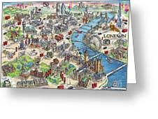 Illustrated Map Of London Greeting Card