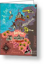 Illustrated Map Of The Netherlands Greeting Card
