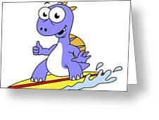 Illustration Of A Surfing Spinosaurus Greeting Card