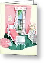 Illustration Of A Victorian Style Pink And Green Greeting Card