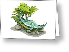Illustration Of An Iguanodon Sunbathing Greeting Card