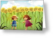 Illustration Of Friends Playing In Sunflower Field Greeting Card
