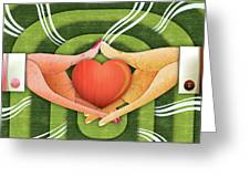 Illustration Of Hands With Heart Greeting Card