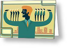 Illustration Of Leader Carrying Business People On His Arms Greeting Card