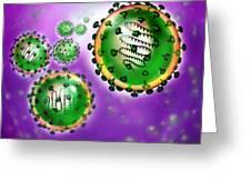 Illustration Of Sars Virus Greeting Card by Jim Dowdalls