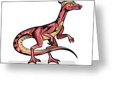 Illustration Of Velociraptor Greeting Card