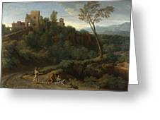 Imaginary Landscape With Buildings In Tivoli Greeting Card