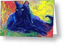 Impasto Black Cat Painting Greeting Card