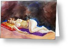 Impressionism Of Reclining Nude Greeting Card