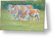 Impressionist Cow Calf Painting Greeting Card