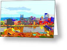 Impressionist Pittsburgh Across The River 2 Greeting Card