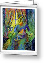Impressionist Woman And Cat Greeting Card by Eve Riser Roberts