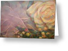 Impressionistic Pink Rose With Ribbon Greeting Card