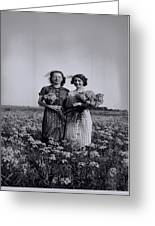 In A Field Of Flowers Vintage Photo Greeting Card
