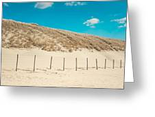 In A Line. Coastal Dunes In Holland Greeting Card