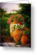 In A Portuguese Garden - Digital Oil Greeting Card